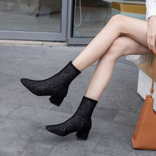 Image of Block Heel Lace Short Boots