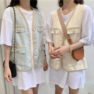 Image of Buttoned Vest / Elbow-Sleeve Oversized T-Shirt Dress