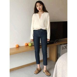 Slit-Side Cropped Jeans 1065164182