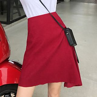 Image of Asymmetric Hem A-Line Skirt