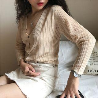 Long-Sleeve V-Neck Buttoned Cardigan 1060701627