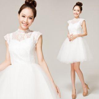 Cap-Sleeve Lace Panel Bridesmaid Dress 1049036810