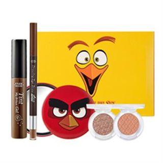 Etude House - Angry Bird Eye Make Up Set: Brow Gel Tint (#01 Brown) + Drawing Eye Brow (#03 Brown) + Look At My Eyes (#BR416 & #BR405) + Mirror 5pcs 1050951933