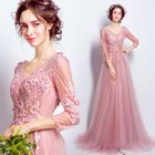 3/4-Sleeve Lace A-Line Evening Gown 1596