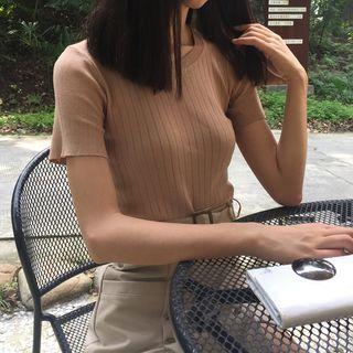 Ribbed Short-Sleeve Knit Top 1052915349