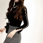 Slit-Sleeve Faux-Pearl Trim Knit Top 1596