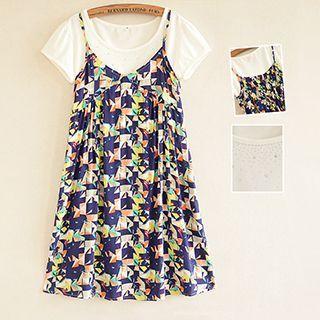 Maternity Set: Short-Sleeve T-Shirt + Strappy Dress 1052885825