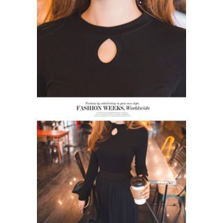 Round-Neck Cutout-Front Top 1057013562