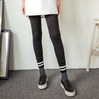 Contrast-Trim Ribbed Hem Leggings 1055135780