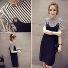 Set: Striped Short Sleeve T-Shirt + Chain Strap Pinafore Dress 1596