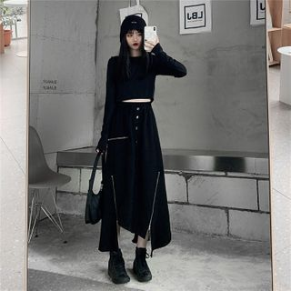 Asymmetric A-line Midi Skirt Black - One Size