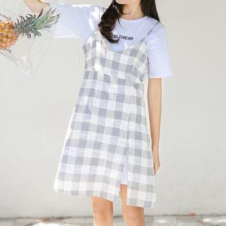 Short-sleeve | Spaghetti | Embroider | T-Shirt | Check | Strap | Dress