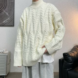 Mock-neck Cable Knit Sweater