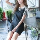 Set: Striped Short Sleeve T-Shirt + Plain Pinafore Dress 1596