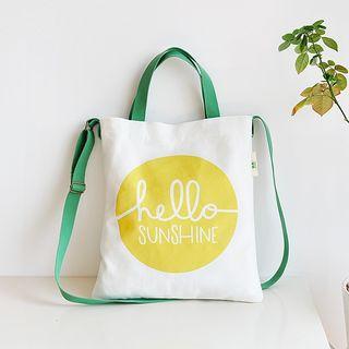 Image of Print Canvas Shopper Bag with Shoulder Strap