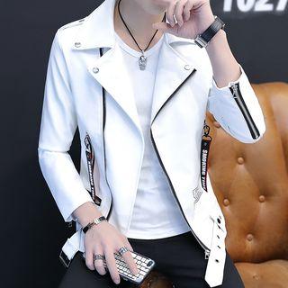 Image of Lettering Faux Leather Biker Jacket