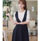Set: Lace Elbow-Sleeve Top + V-Neck Midi Pinafore Dress 1596