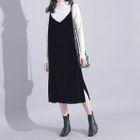 V-Neck Sleeveless Velvet Midi Pinafore Dress 1596
