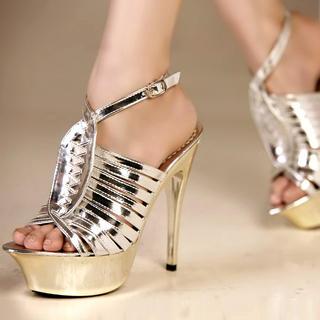 Buy Kvoll Strappy Metallic Platform Sandals 1022979439