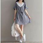 Short-Sleeve Color Block Tie Waist Dress от YesStyle.com INT