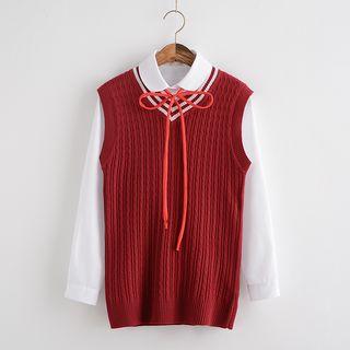 Image of Long-Sleeve Shirt / Knit Vest