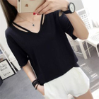 Cutout V-Neck Short-Sleeve T-Shirt 1596