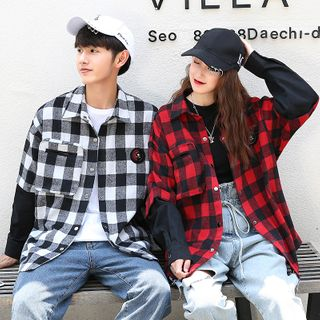 Image of Couple Matching Mock Two-Piece Plaid Shirt