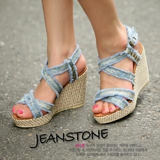 Picture of Jean Stone Denim Wedge Sandals 1022990628 (Sandals, Jean Stone Shoes, Korea Shoes, Womens Shoes, Womens Sandals)