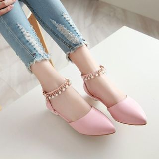 Image of Beaded Ankle Strap DOrsay Flats