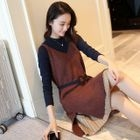 Set: Two-Tone Long-Sleeve Dress + Long Sweater Vest 1596