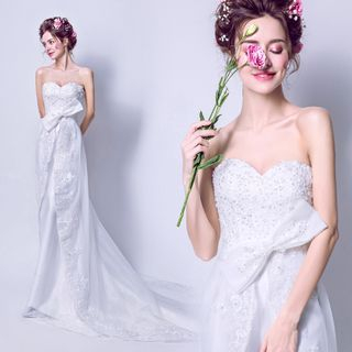 Image of Bow-Accent Wedding Dress