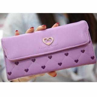 Heart Print Flap Long Wallet