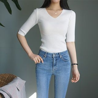 V-Neck Ribbed Knit Top 1065288795