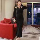 Long-Sleeve Shoulder Cut Out Maxi Dress 1596