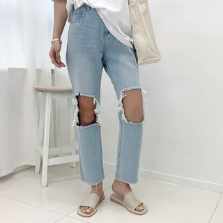 Image of Band-Waist Cutout-Detail Jeans