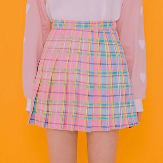 Check Pleated Mini Skirt 1058430814