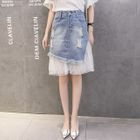 Panel Denim Skirt 1596