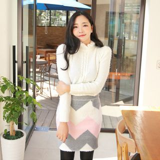 Frill-Neck Cable-Knit Sweater