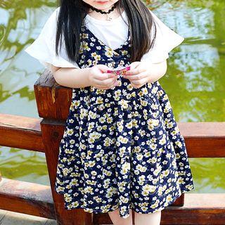 Kids Set: Short-Sleeve T-Shirt + Floral Print Strappy A-Line Dress 1059666683