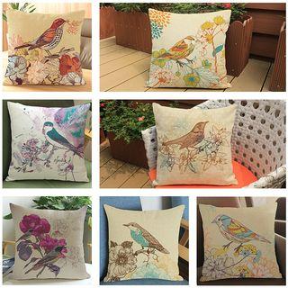 Image of Bird Printed Sofa Cushion Cover