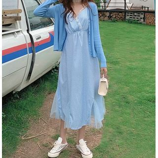 Image of Long-Sleeve Knit Cardigan / Plaid Spaghetti-Strap Dress