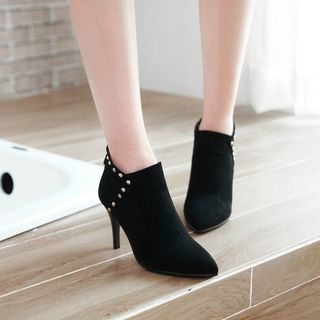 Studded   Suede   Point   Stud   Boot   Heel   High   Faux   Toe