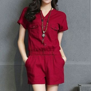 Short-Sleeve V-Neck Playsuit 1058406298