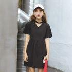 Cutout Short-Sleeve Dress 1596