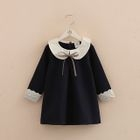 Kids Lace Trim Collared Long Sleeve Dress 1596