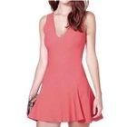 V-Neck Open Back Sleeveless A-Line Dress 1596