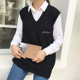 V-Neck Rib Knit Vest 1062062561