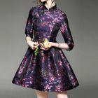 Floral Print Mandarin Collar A-Line Dress 1596