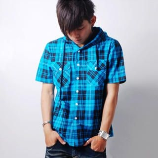 Buy SLOWTOWN Short-Sleeve Plaid Hooded Shirt 1023009144