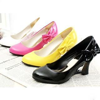Buy KAWO Bow Patent Heart-Heel Wedge Pumps 1022785281